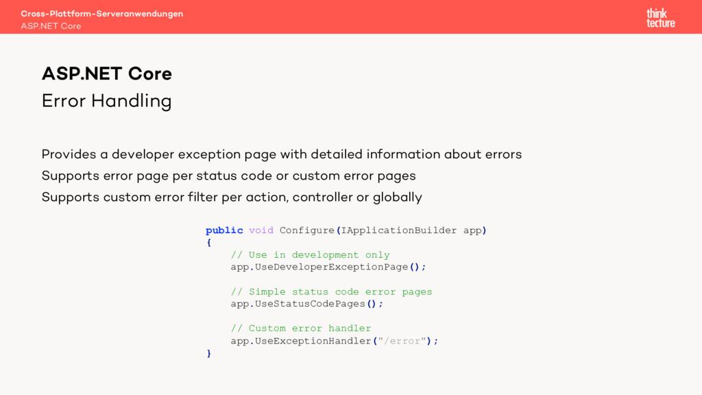 Error Handling Provides a developer exception p...