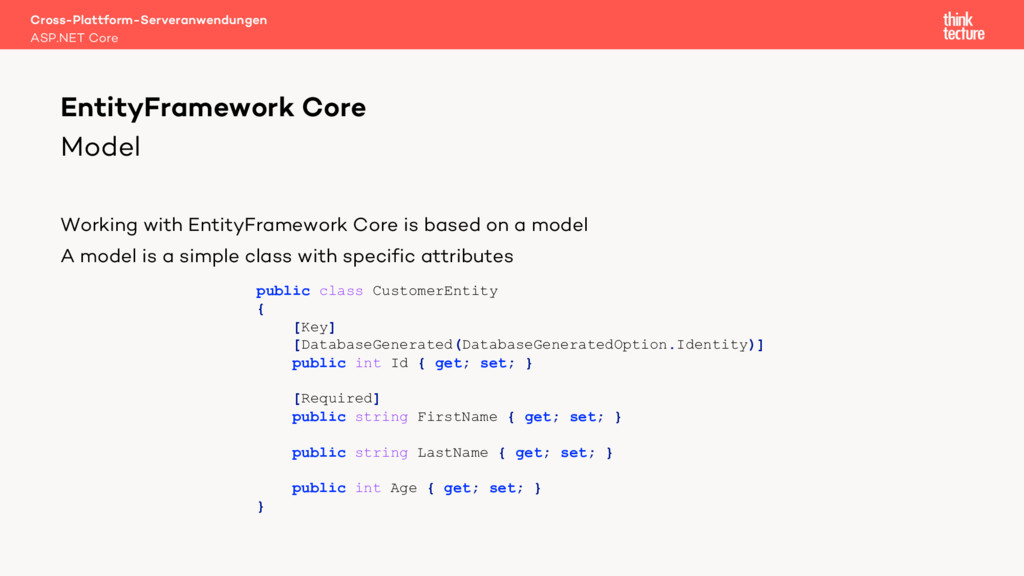 Model Working with EntityFramework Core is base...