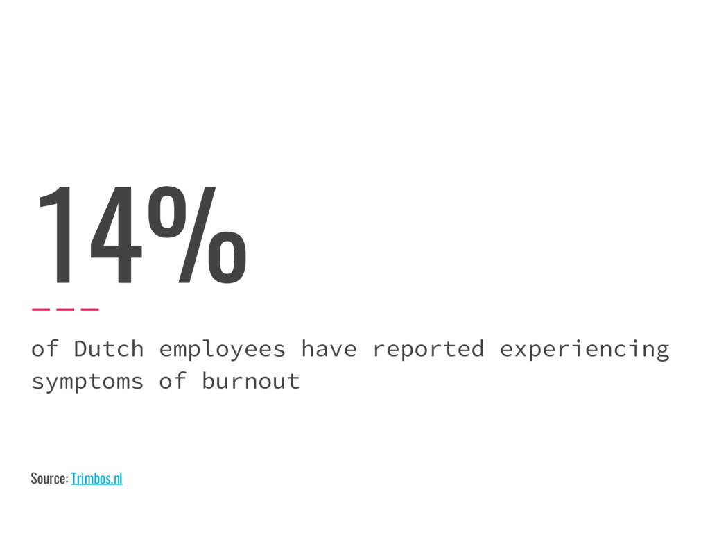 14% of Dutch employees have reported experienci...