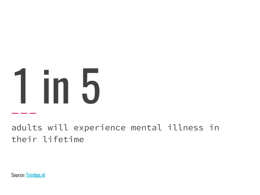 1 in 5 adults will experience mental illness in...