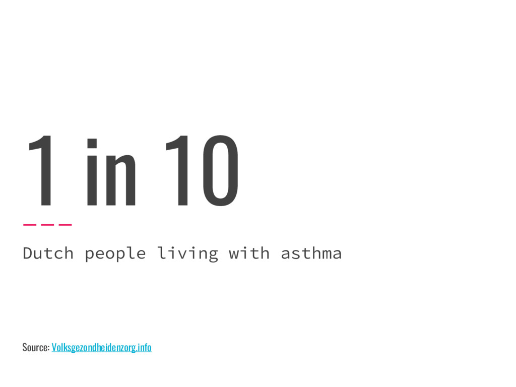 1 in 10 Dutch people living with asthma Source:...