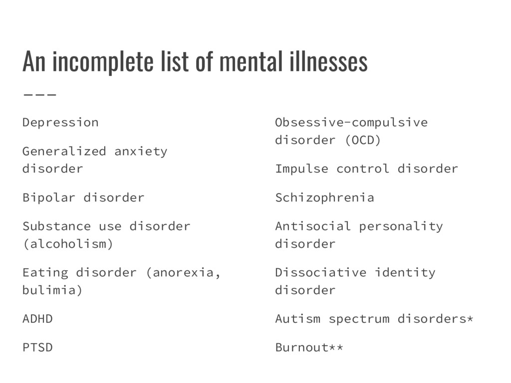 An incomplete list of mental illnesses Depressi...