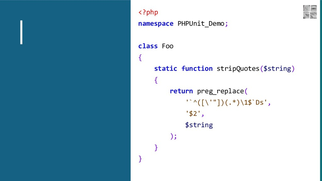 <?php namespace PHPUnit_Demo; class Foo { stati...