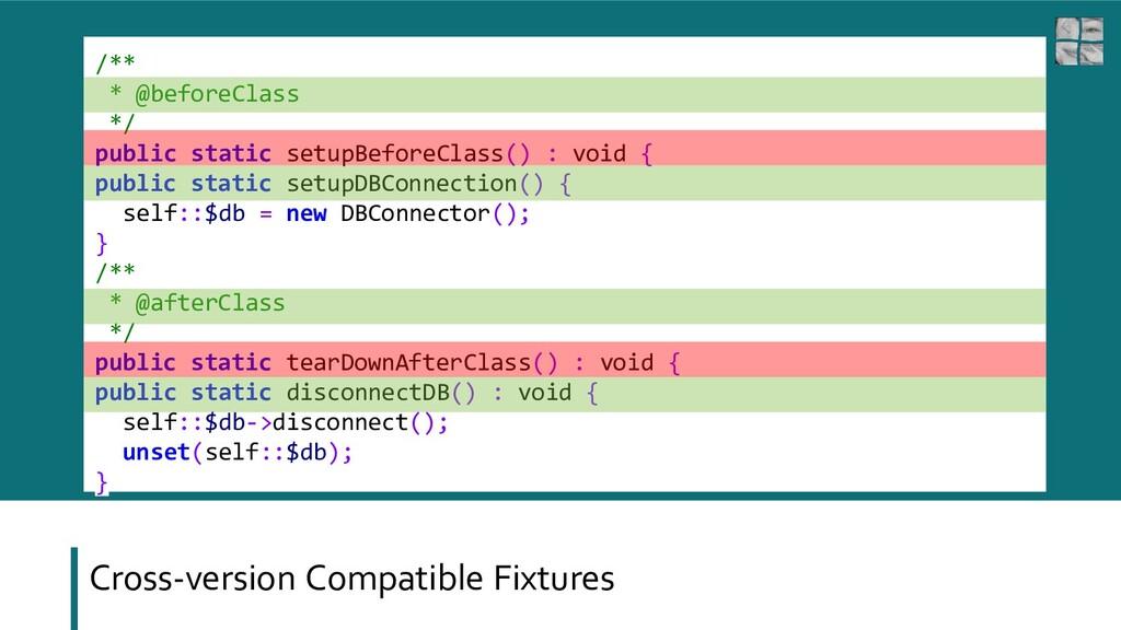 Cross-version Compatible Fixtures /** * @before...