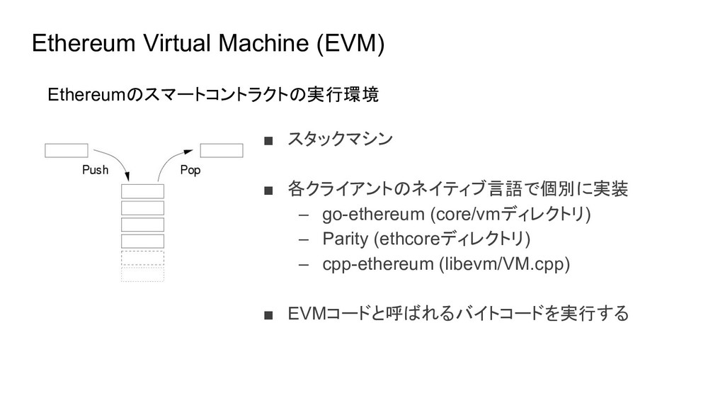Ethereum Virtual Machine (EVM) ■ スタックマシン ■ 各クライ...