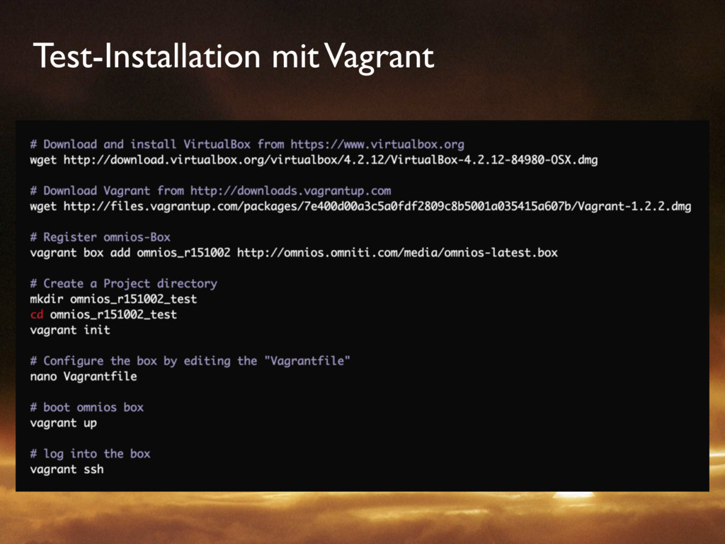 Test-Installation mit Vagrant