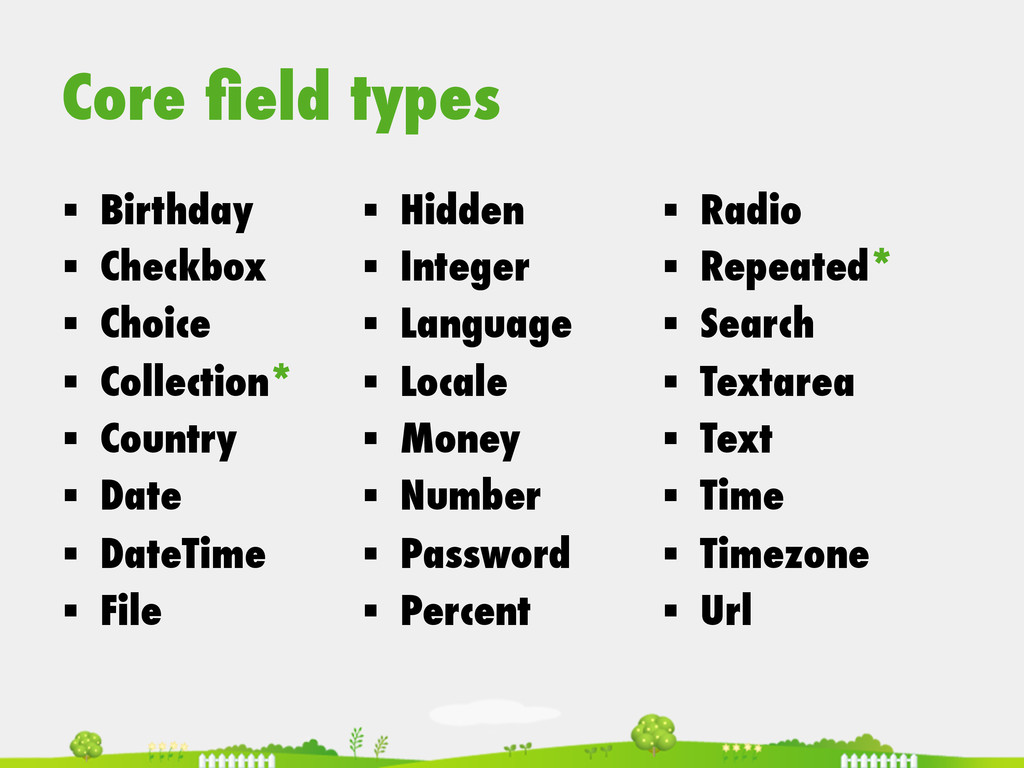 Core field types § Birthday § Checkbox § C...