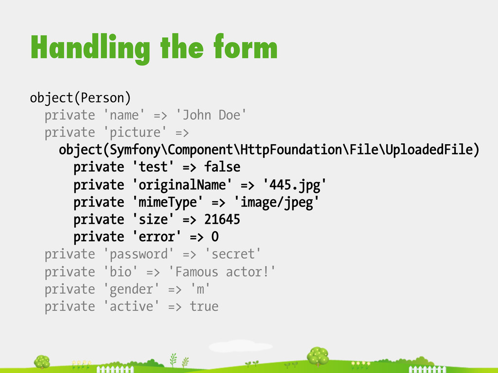 Handling the form object(Person) private 'name'...