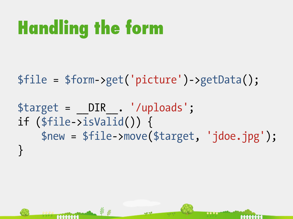 Handling the form $file = $form->get('picture')...