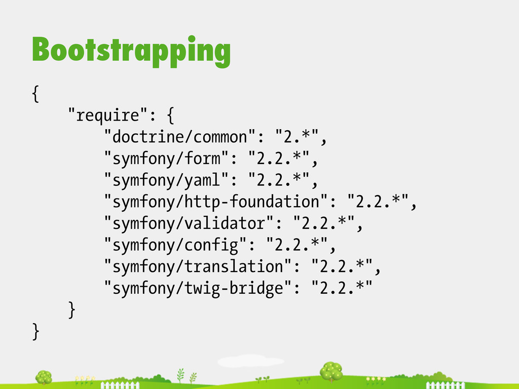 """Bootstrapping { """"require"""": { """"doctrine/common"""":..."""