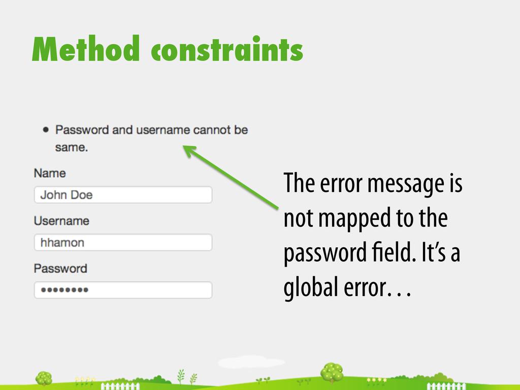 Method constraints The error message is not map...