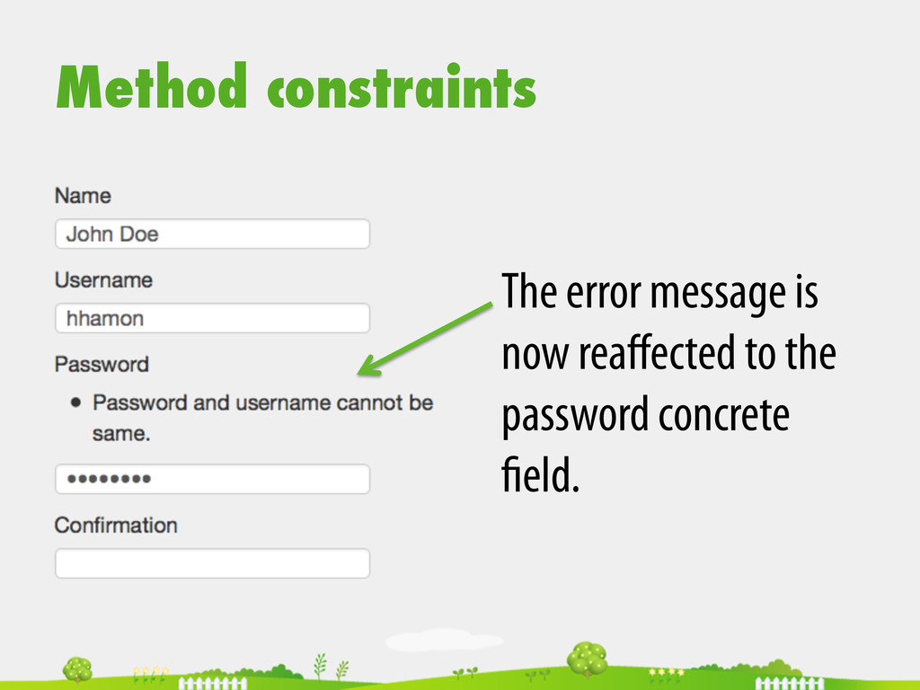 Method constraints The error message is now rea...