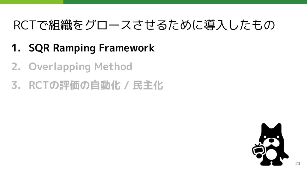 RCTで組織をグロースさせるために導入したもの 1. SQR Ramping Framewor...