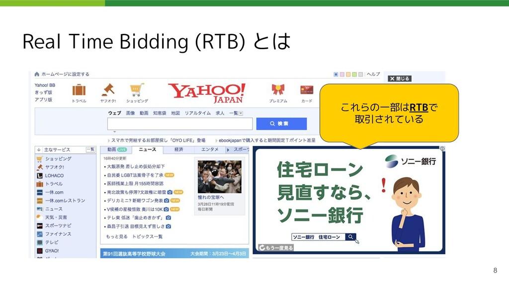 Real Time Bidding (RTB) とは これらの一部はRTBで 取引されている 8