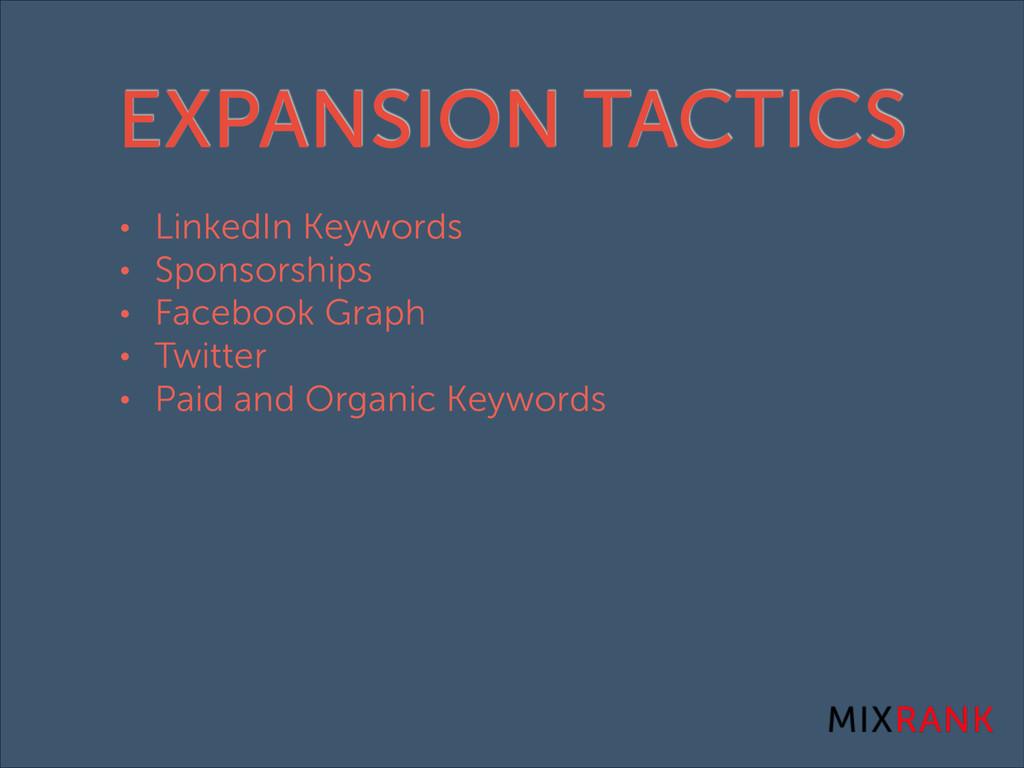 EXPANSION TACTICS • LinkedIn Keywords • Sponsor...