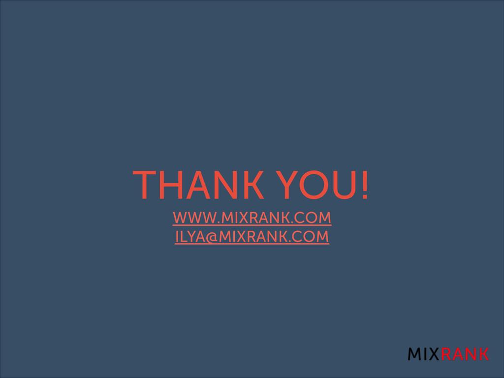 THANK YOU! WWW.MIXRANK.COM ILYA@MIXRANK.COM