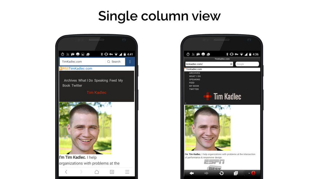 Single column view