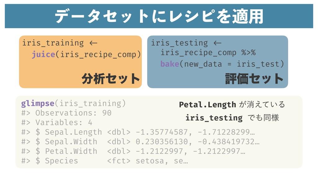 σʔληοτʹϨγϐΛద༻ iris_training <- juice(iris_recip...