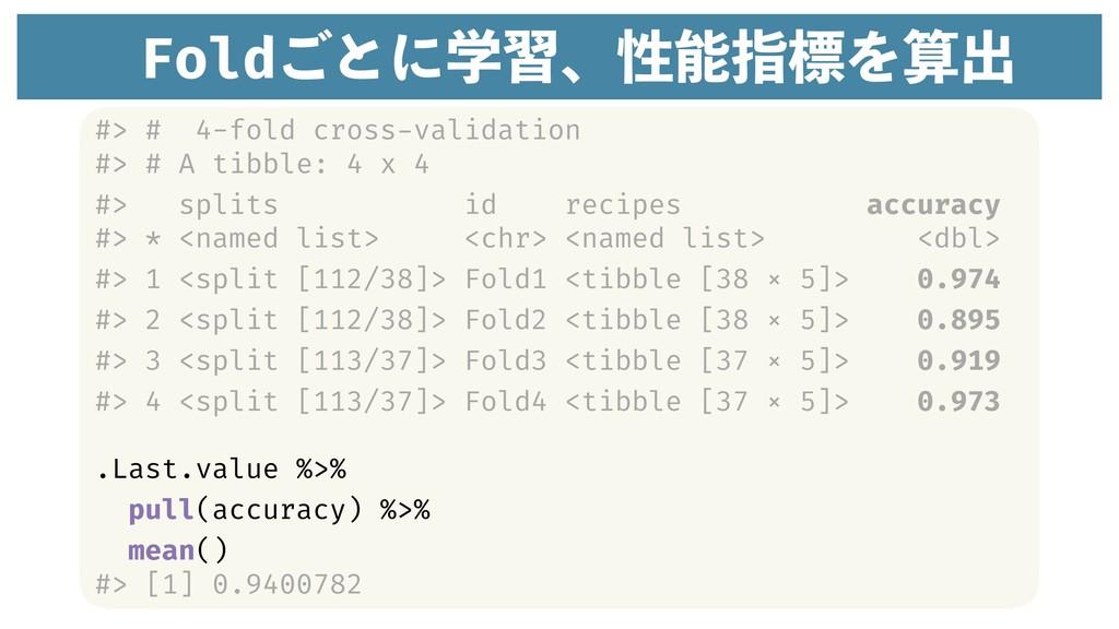 Fold͝ͱʹֶशɺੑࢦඪΛग़ #> # 4-fold cross-validation ...