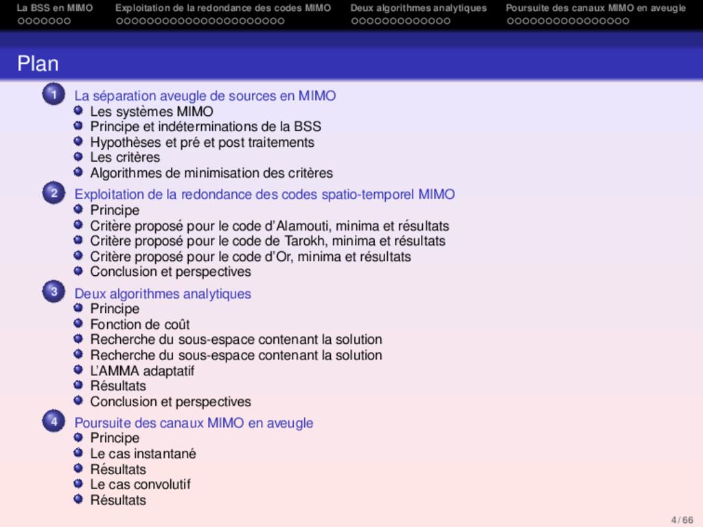 La BSS en MIMO Exploitation de la redondance de...