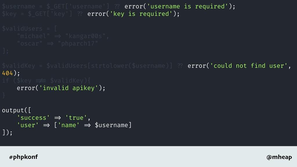 @mheap #phpkonf $username = $_GET['username'] ?...