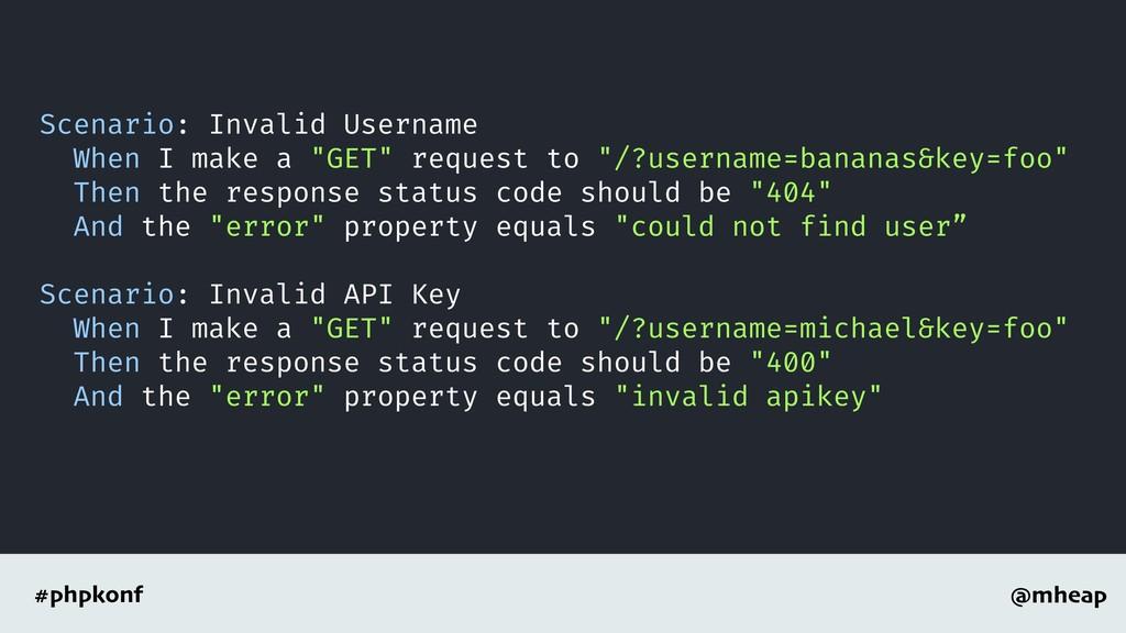 @mheap #phpkonf Scenario: Invalid Username When...