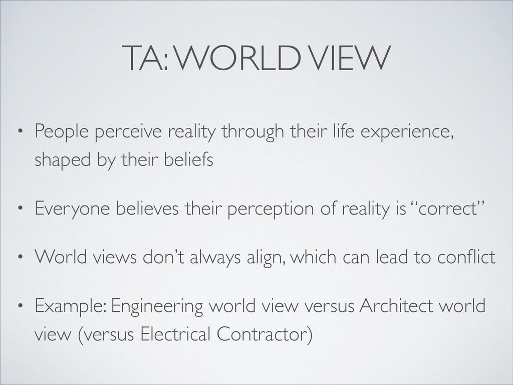 TA: WORLD VIEW • People perceive reality throug...
