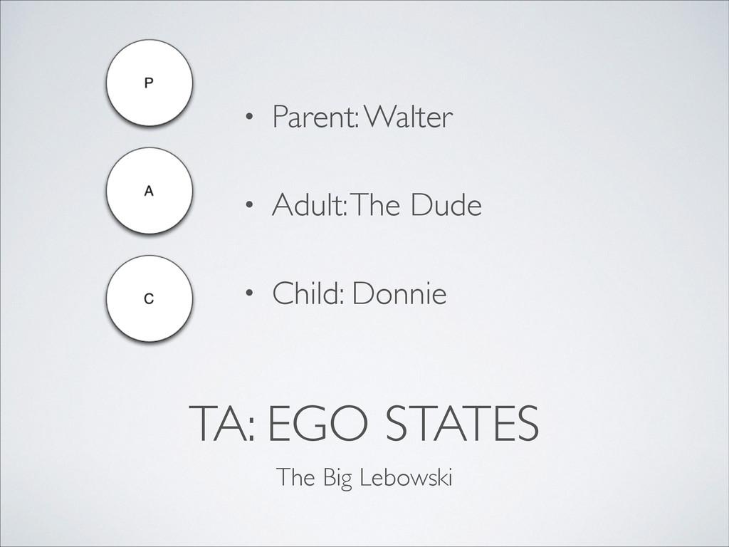 TA: EGO STATES The Big Lebowski • Parent: Walte...