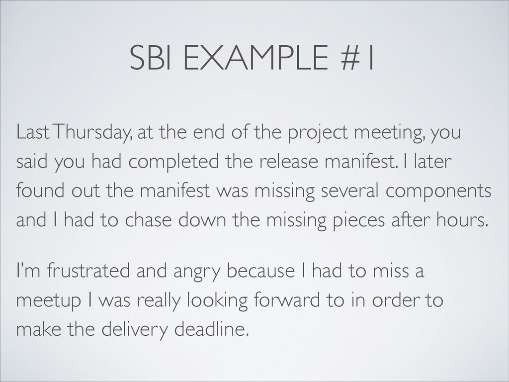 SBI EXAMPLE #1 Last Thursday, at the end of the...