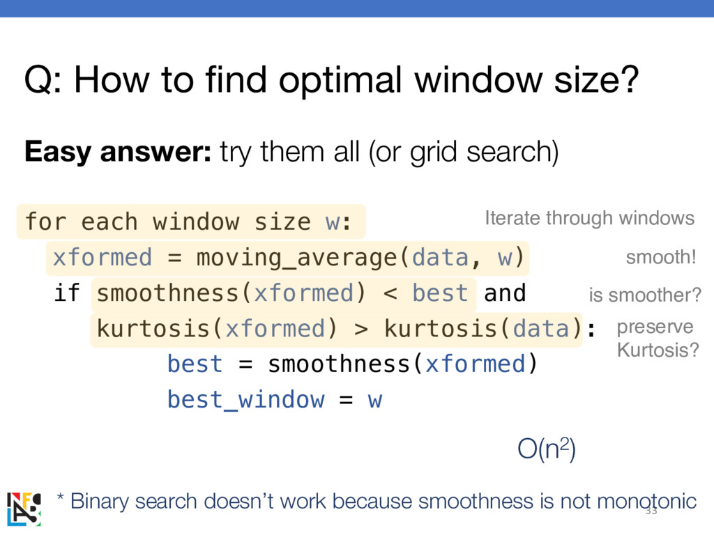 Q: How to find optimal window size? Easy answer...