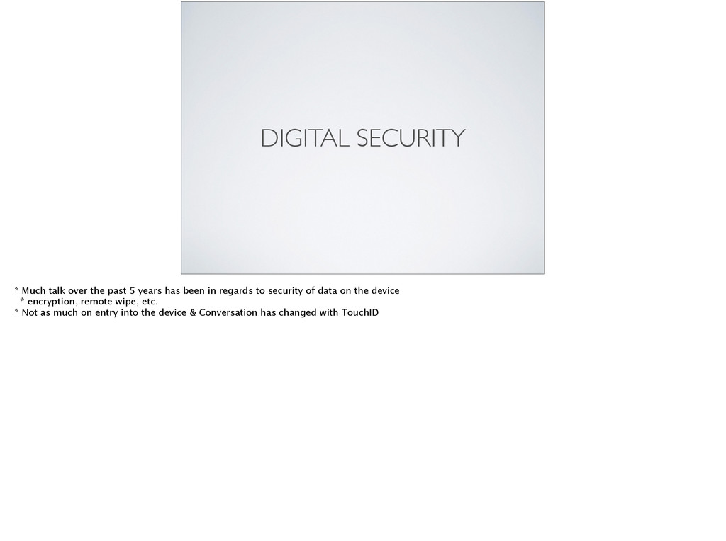 DIGITAL SECURITY * Much talk over the past 5 ye...