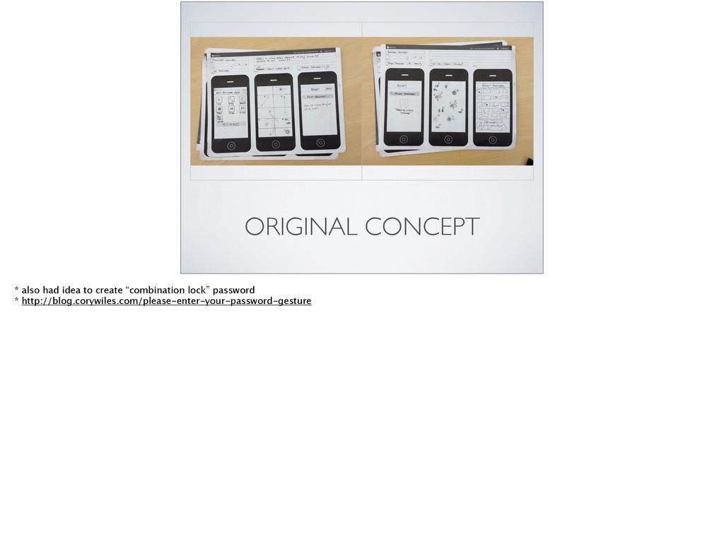 "ORIGINAL CONCEPT * also had idea to create ""com..."