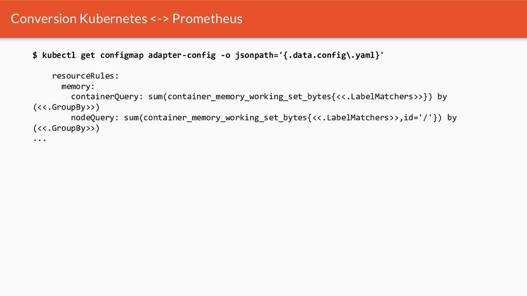 Conversion Kubernetes <-> Prometheus $ kubectl ...