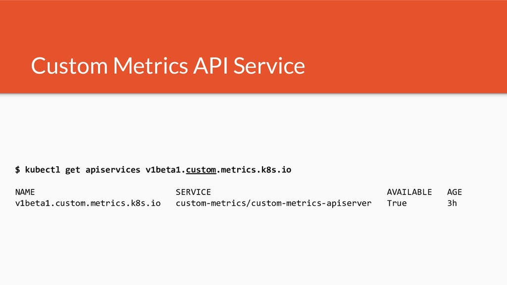 Custom Metrics API Service $ kubectl get apiser...