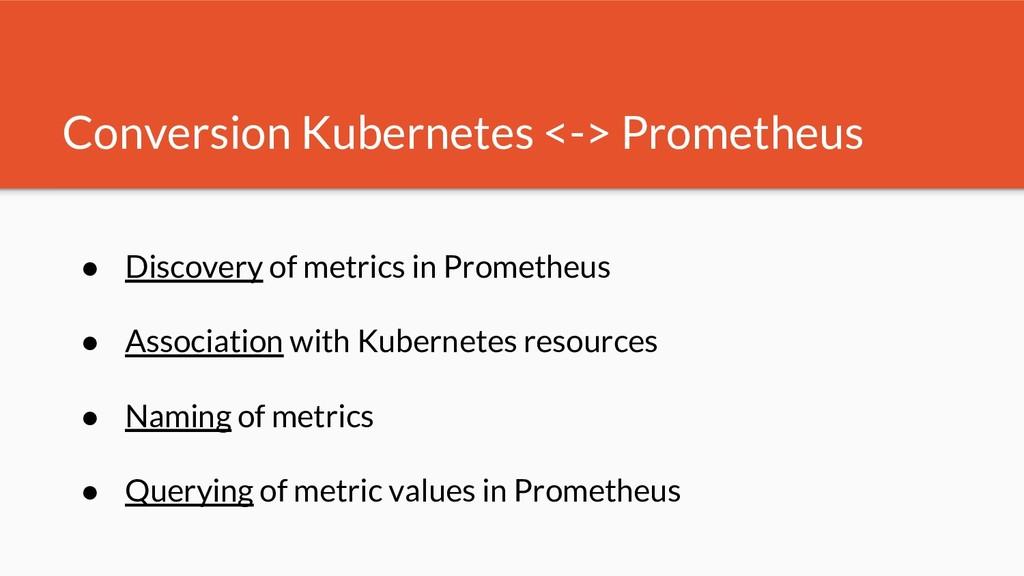 Conversion Kubernetes <-> Prometheus ● Discover...