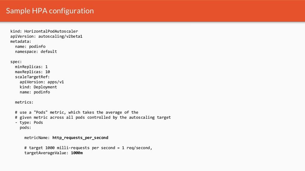 Sample HPA configuration kind: HorizontalPodAut...