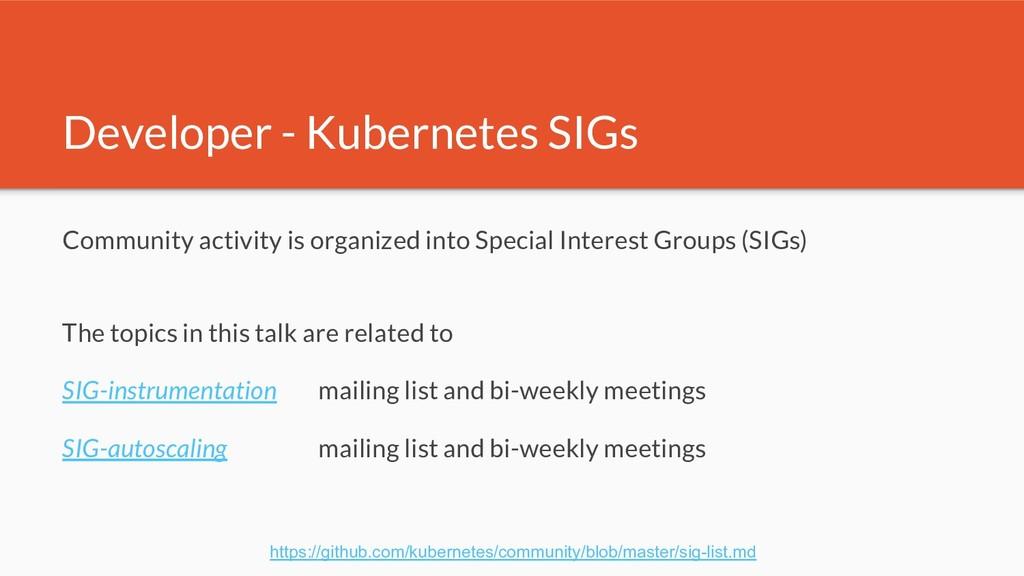 Developer - Kubernetes SIGs Community activity ...