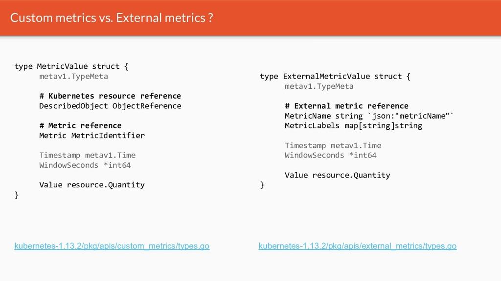 Custom metrics vs. External metrics ? type Metr...