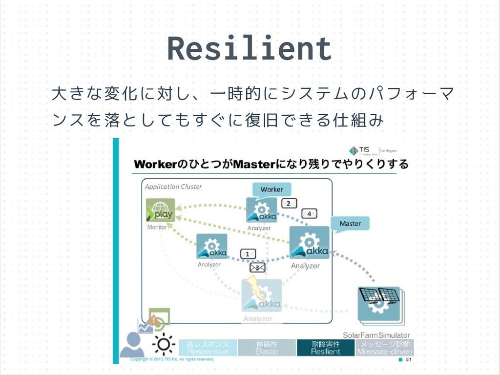 Resilient 大きな変化に対し、一時的にシステムのパフォーマ ンスを落としてもすぐに復旧...