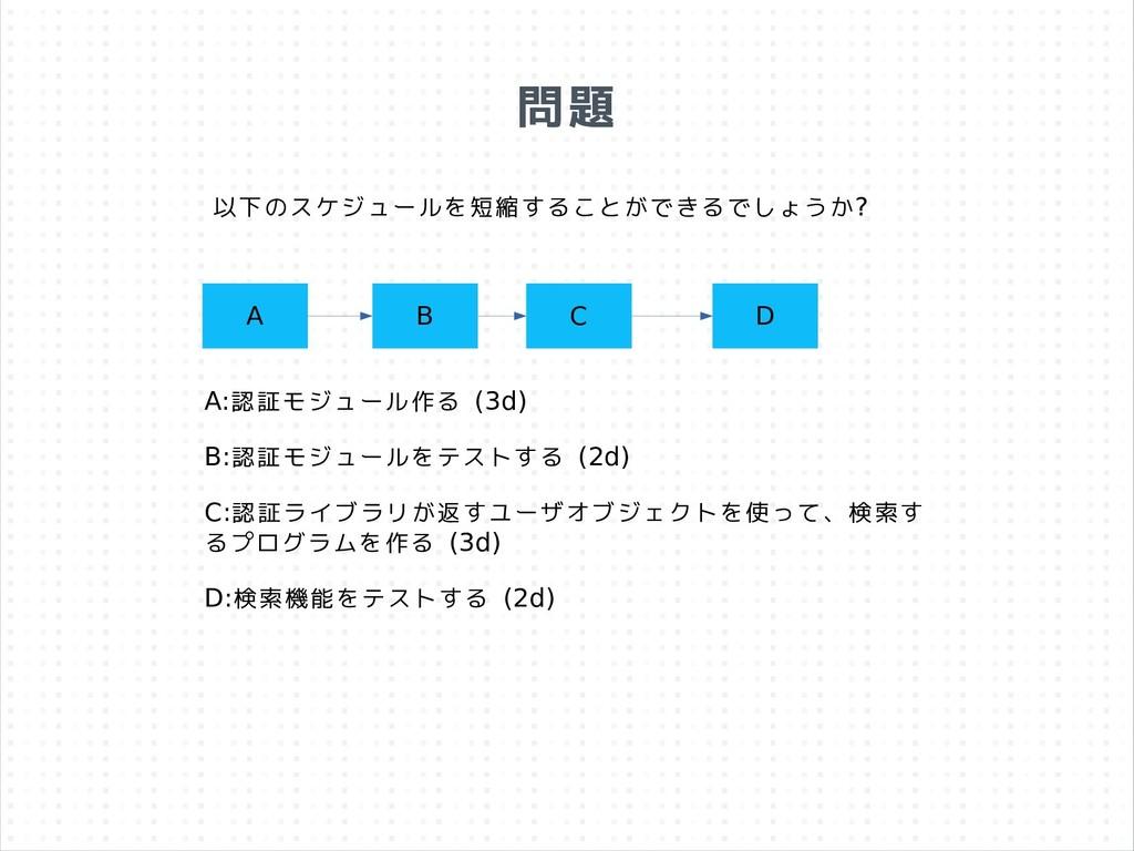 問題 A B C D A:認証モジュール作る (3d) B:認証モジュールをテストする (2d...