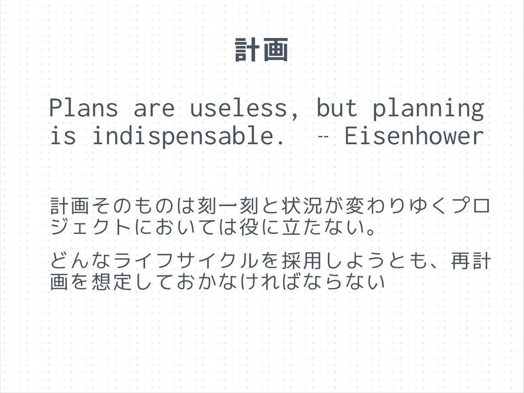 計画 Plans are useless, but planning is indispens...