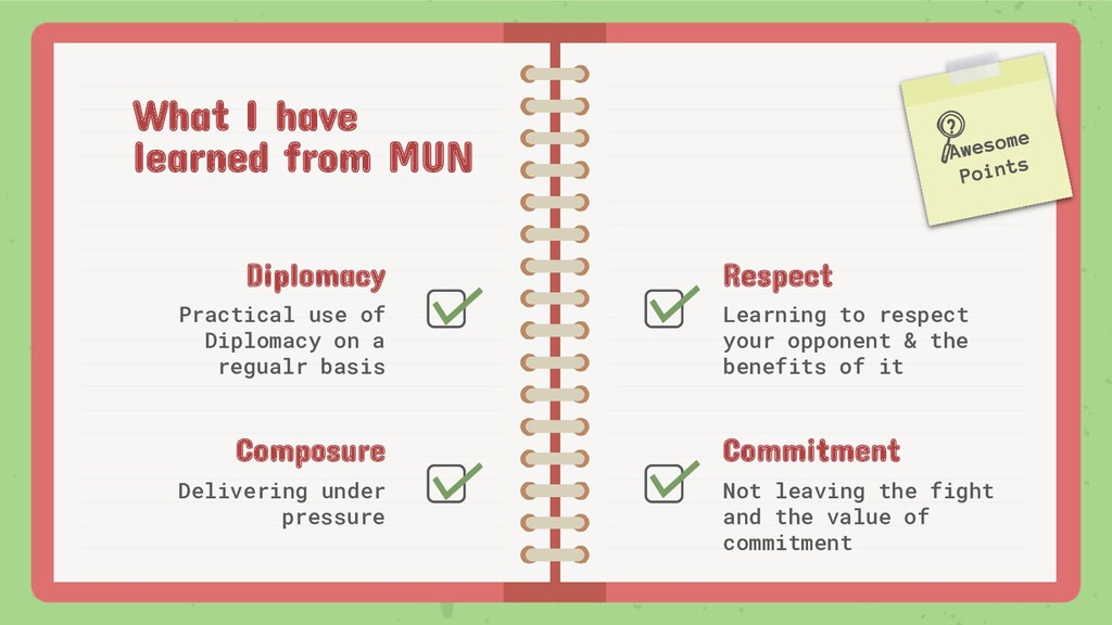 What I have learned from MUN Diplomacy Practica...
