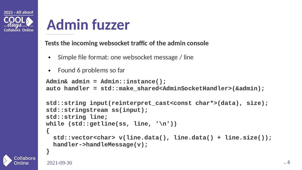 2021-09-30 .. 6 Admin fuzzer Admin& admin = Adm...