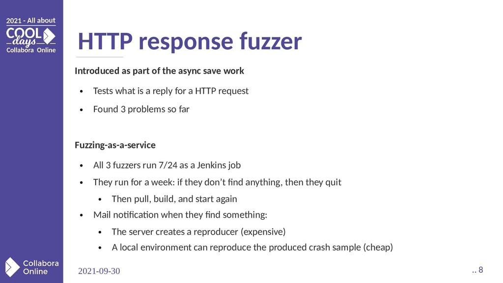 2021-09-30 .. 8 HTTP response fuzzer Introduced...