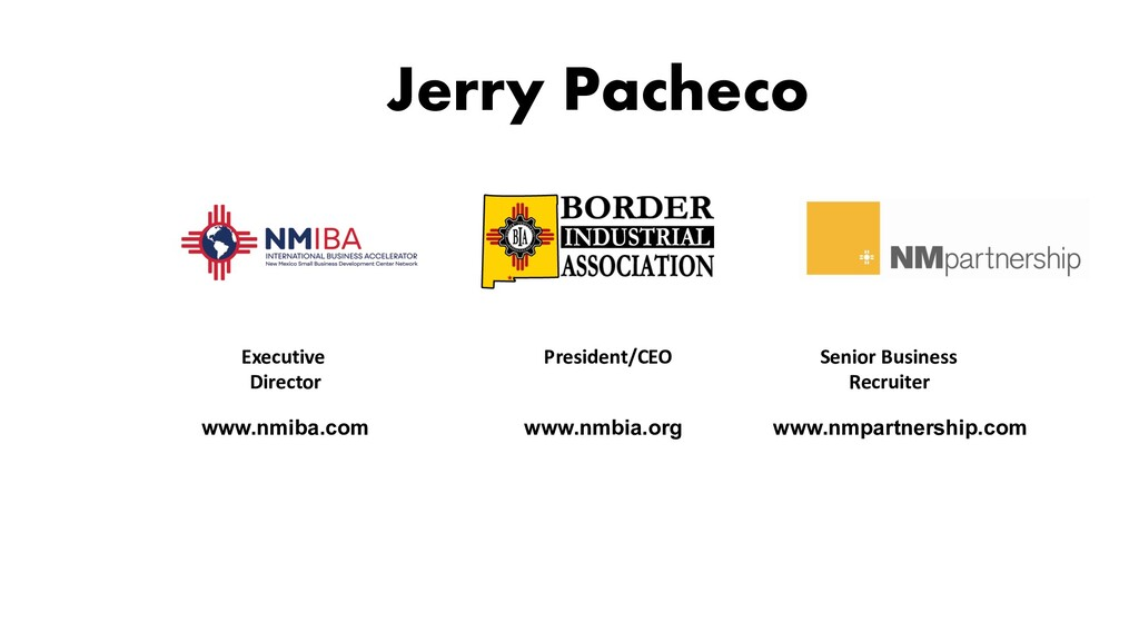 Jerry Pacheco www.nmiba.com Senior Business Rec...