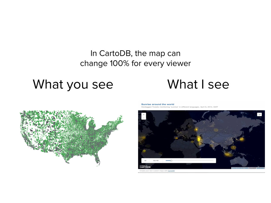 In CartoDB, the map can change 100% for every v...