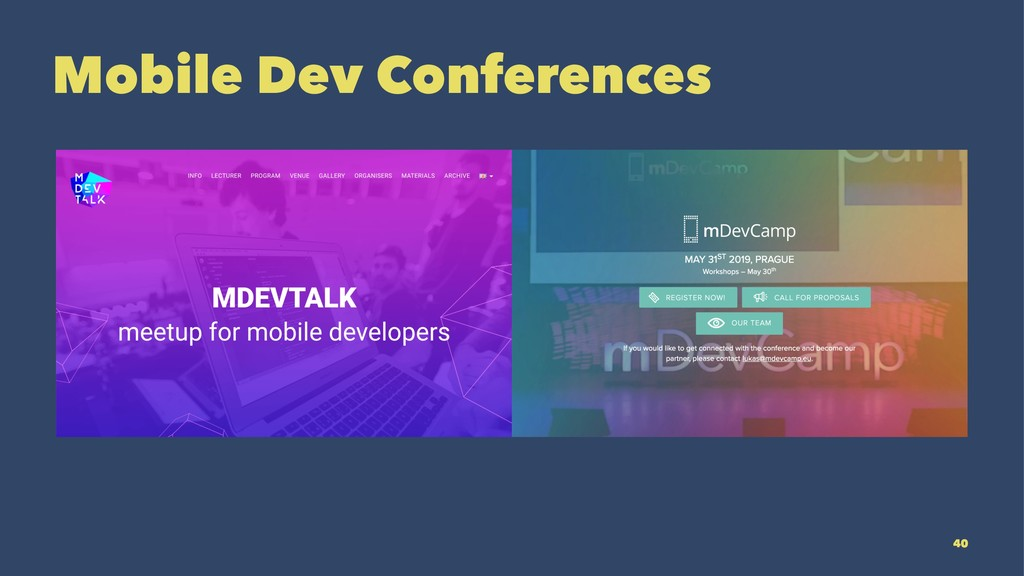 Mobile Dev Conferences 40