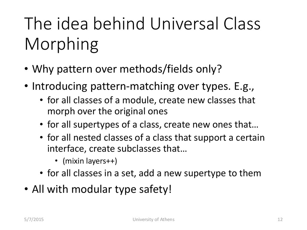The idea behind Universal Class Morphing • Why ...