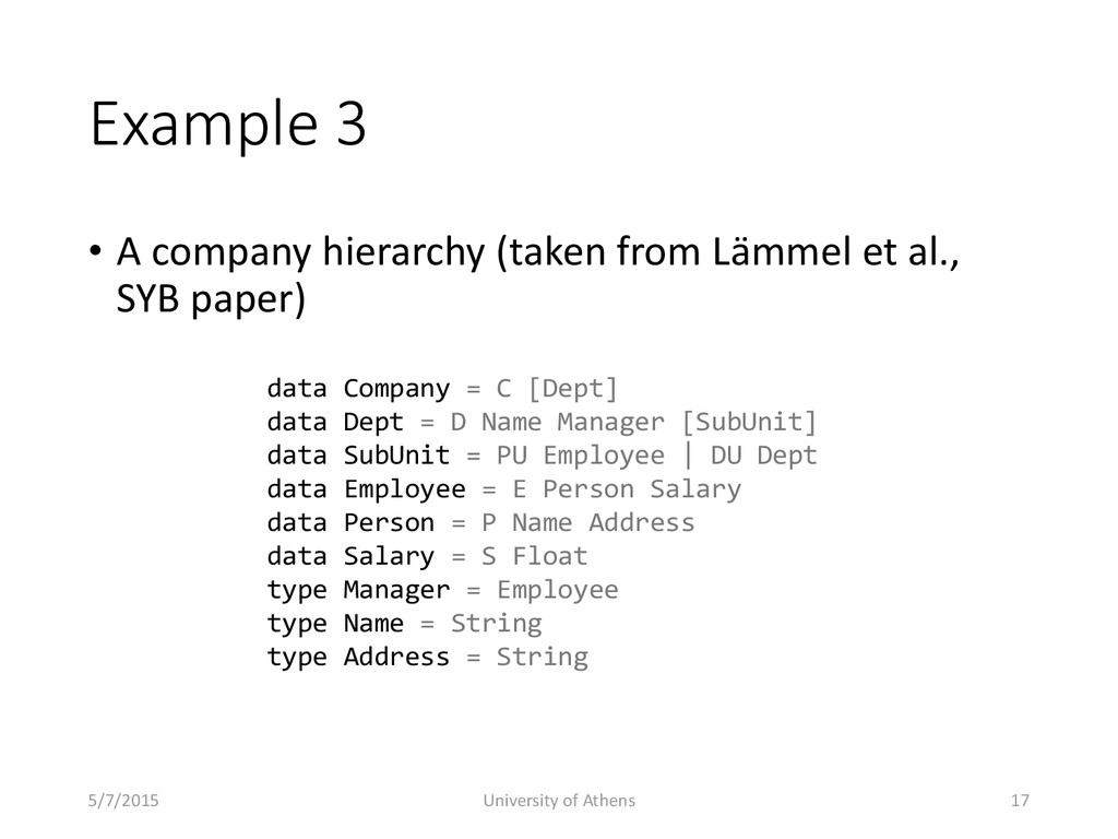 Example 3 • A company hierarchy (taken from Läm...