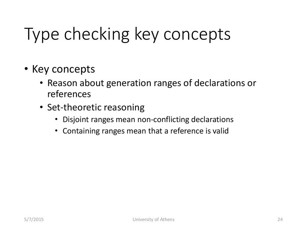 Type checking key concepts • Key concepts • Rea...